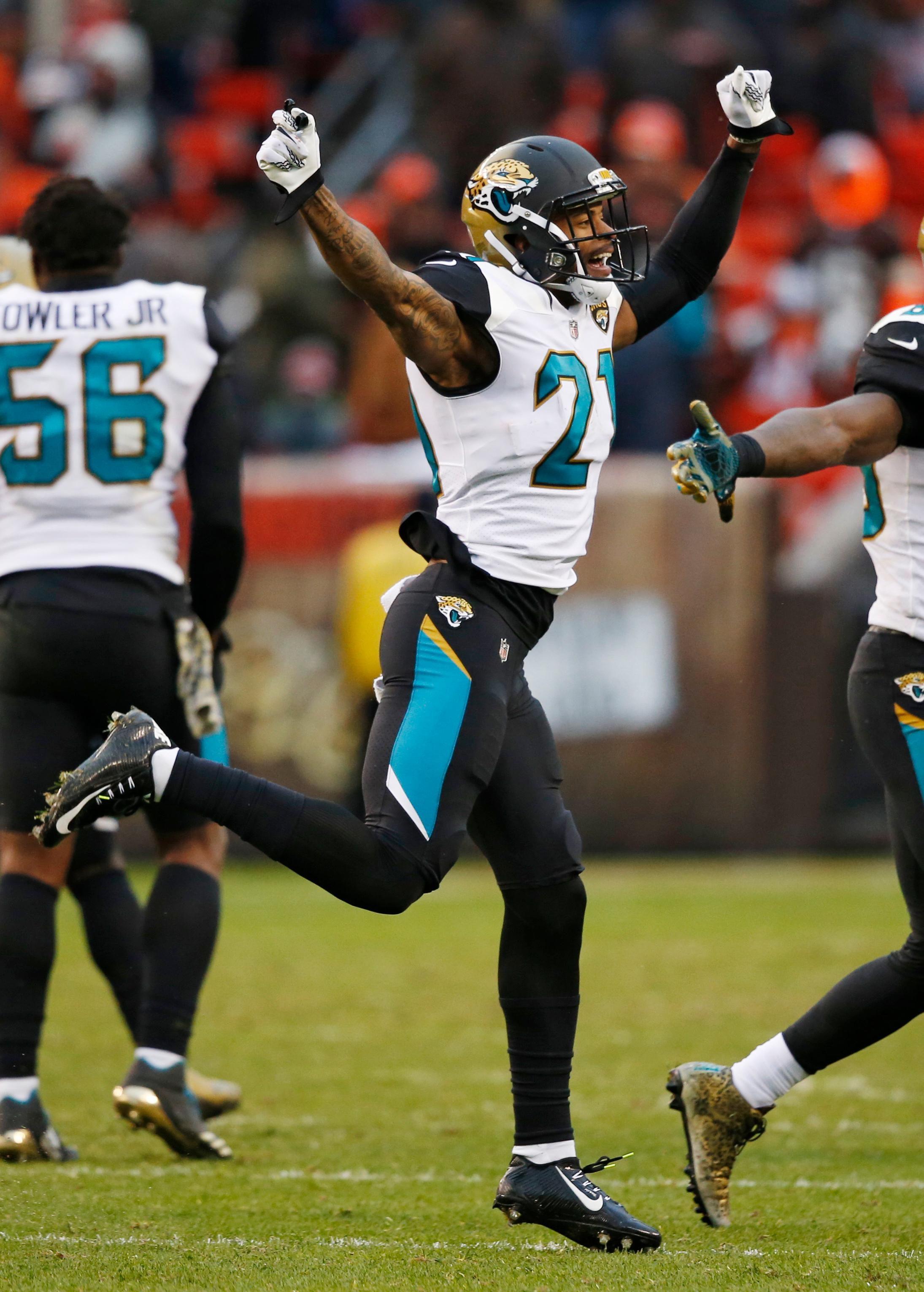 Jacksonville Jaguars cornerback A.J. Bouye (21) celebrates after his team recovered a fumble in the second half of an NFL football game against the Cleveland Browns, Sunday, Nov. 19, 2017, in Cleveland. (AP Photo/Ron Schwane)