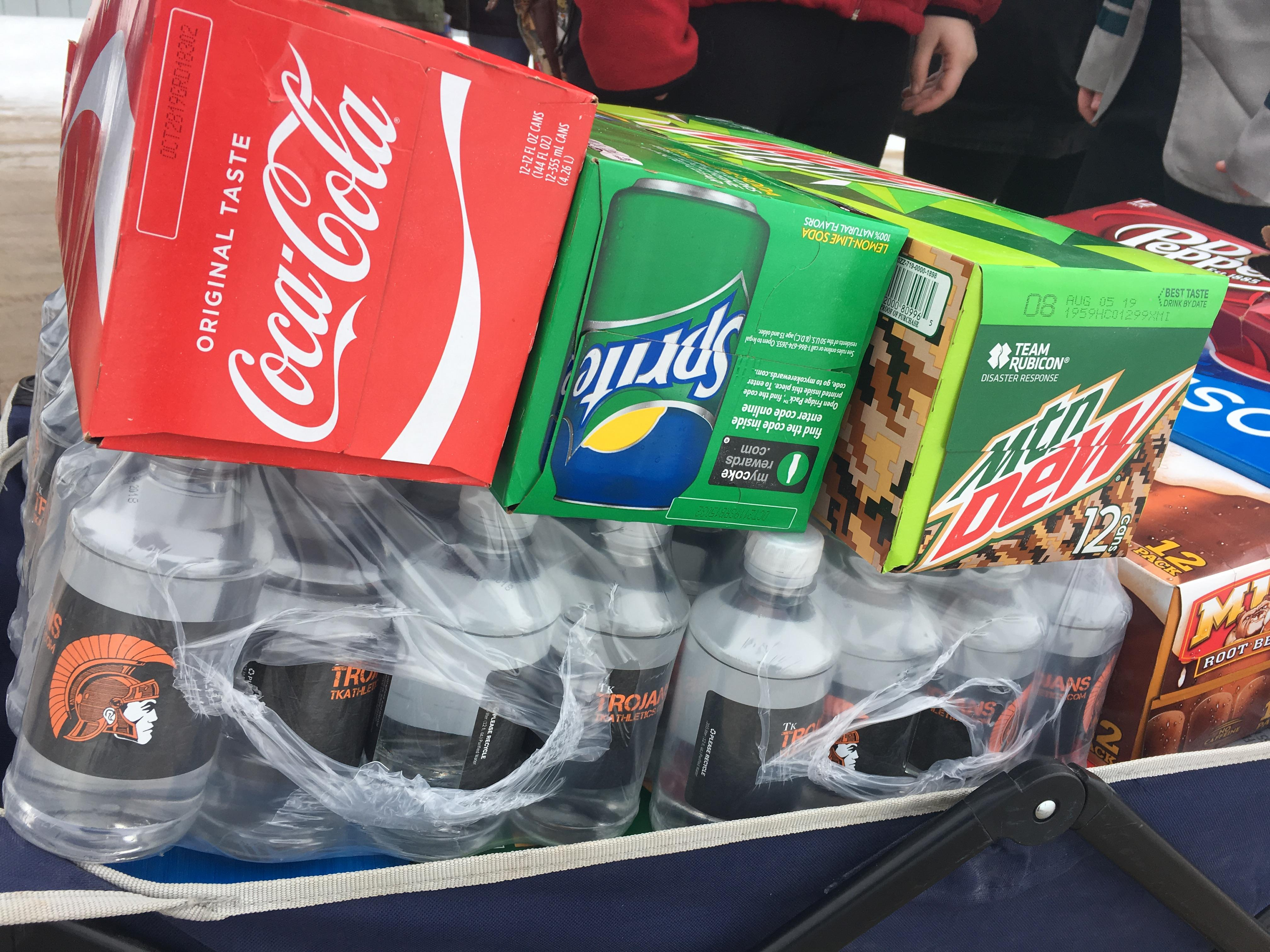 Assorted beverages are ready to be handed out to service workers and first responders in the Thornapple Kellogg community. Students handed them out to thank those who have to work in these winter conditions. Feb. 14, 2019.{ } (WWMT/Jason Heeres)