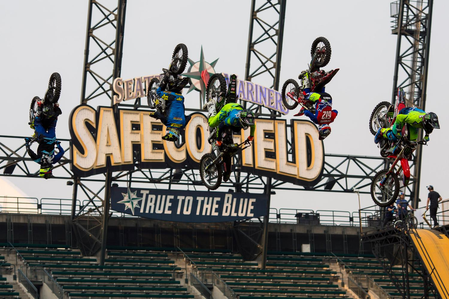Safeco Field was transformed last night by high-adrenaline, stunt performing freestyle athletes during Nitro Circus Live. Athletes flew through the air on dirt bikes, scooters, lounge chairs, BMX bikes and more. The show has toured five continents and finally made its way to Seattle. (Sy Bean / Seattle Refined)