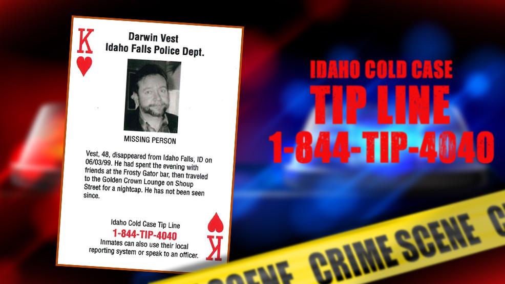 East Idaho Cold Cases and the Idaho Department of Correction have created playing cards that feature 52 cold cases in the Gem State highlighting unsolved murders, missing people and abducted children.  The playing cards will often be distributed among inmates within the IDOC. Anyone with information about any of these cases is urged to call the Idaho State Police at 1-844-TIP-4040.