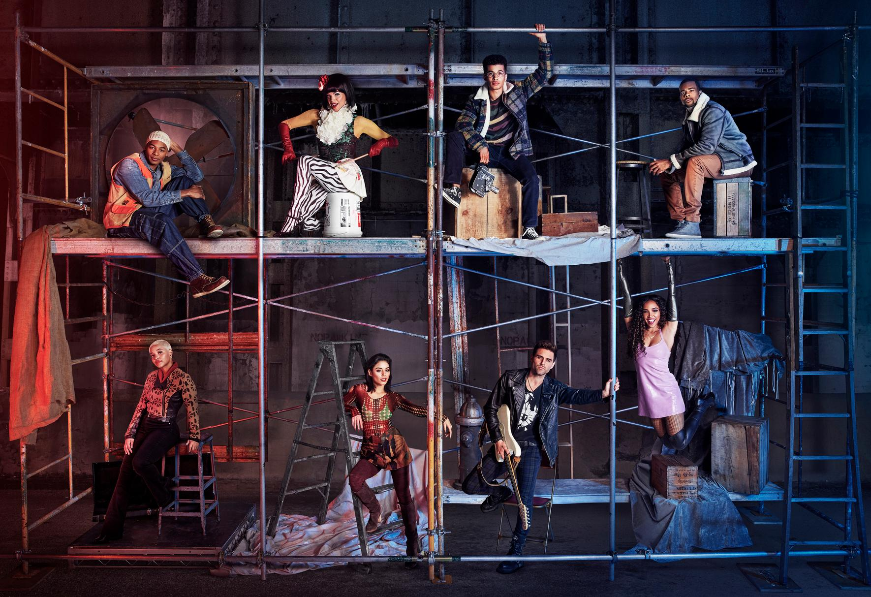 "This image released by Fox shows the cast of ""Rent,"" from top left, Brandon Victor Dixon as Tom Collins, Valentina as Angel Dumont Schunard, Jordan Fisher as Mark Cohen, Mario as Benjamin Coffin III, and from bottom left, Kiersey Clemons as Joanne Jefferson, Vanessa Hudgens as Maureen Johnson, Brennin Hunt as Roger Davis and Tinashe as Mimi Marquez, airing Sunday, Jan. 27 on Fox. (Pamela Littky/FOX via AP)"