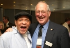 Al Jarreau poses with his college basketball coach, Doc Weiske, at Ripon College, Oct. 6, 2006.