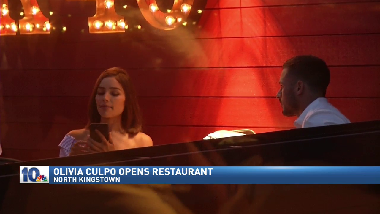 A new restaurant co-owned by Rhode Island's own Olivia Culpo opened in North Kingstown on Monday, Aug. 28, 2017. Here, she sits with her boyfriend, New England Patriots wide receiver Danny Amendola. (WJAR)