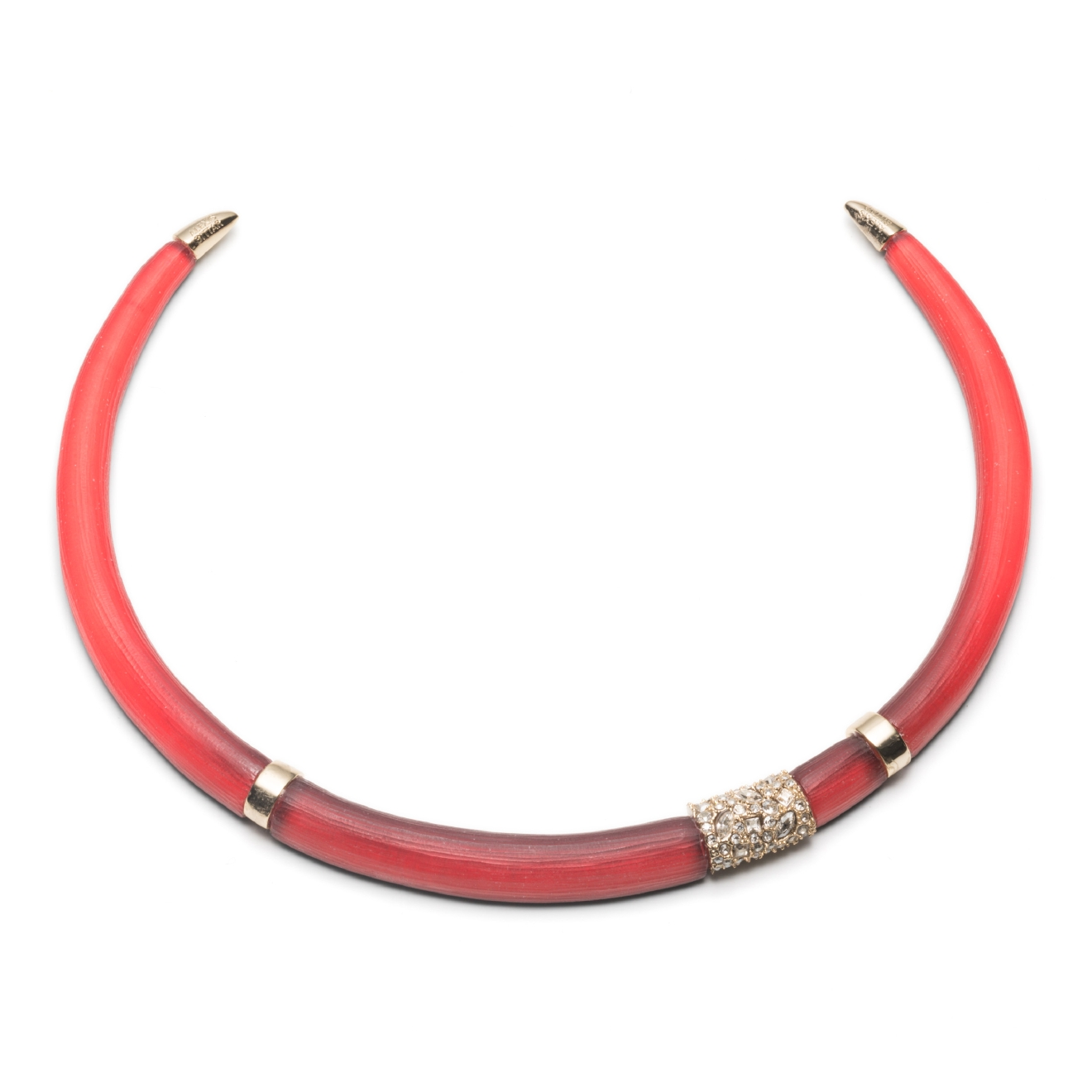 Collar necklaces are all the rage this season! Give your outfit a little egde. Alexis Bittar Colorblock Pave Station Collar, $275, alexisbittar.com (Image: Courtesy Alexis Bittar)