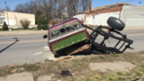 Driver loses control of truck and 'fishtails' into light pole, police say