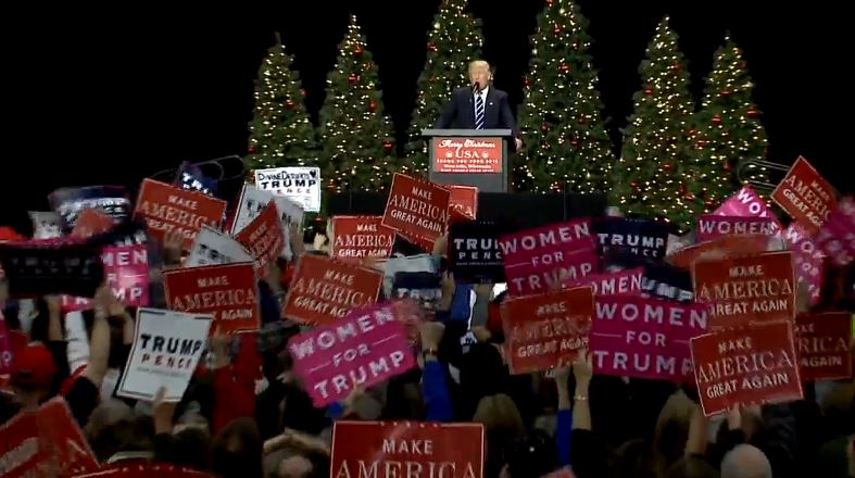 Donald Trump speaks at a Thank You rally in West Allis, December 13, 2016.