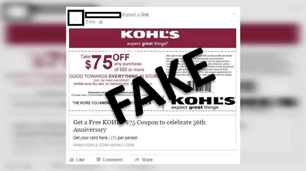 Scam Alert: Kohl's $75 off coupon is too good to be true | WSTM