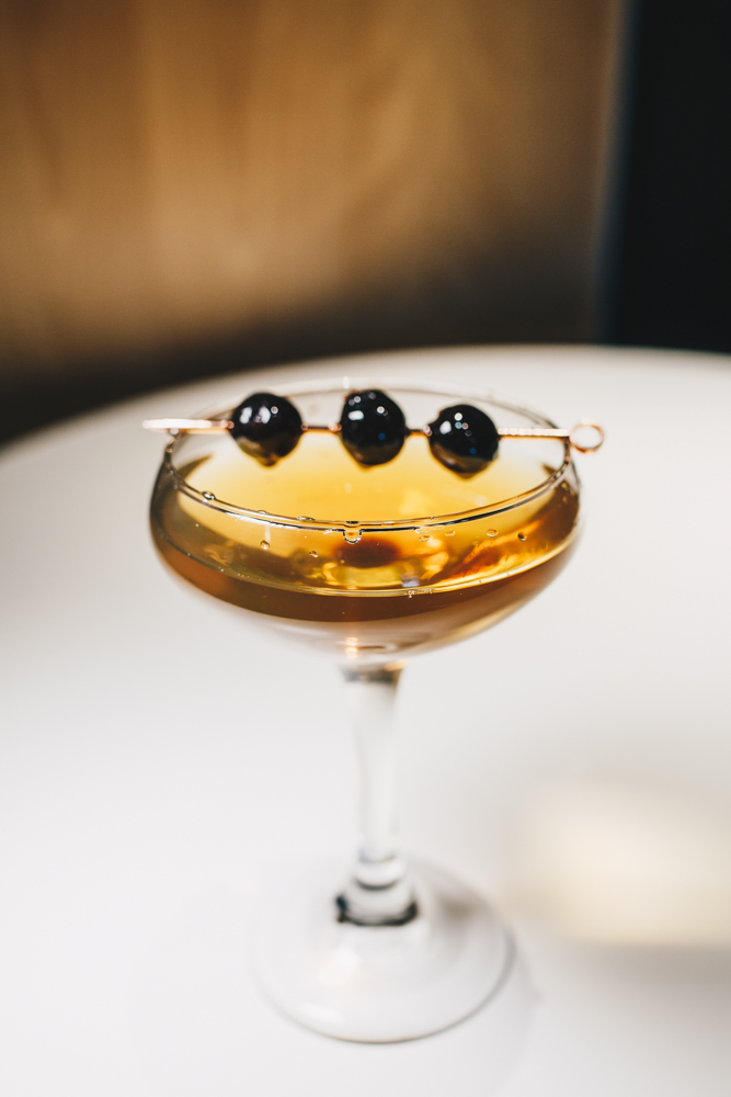 Perfect Rye Manhattan: New Riff Rye, Cocchi sweet + Contratto dry vermouth, black strap bitters, and garnished with a Luxardo cherry / Image: Catherine Viox // Published: 3.25.19
