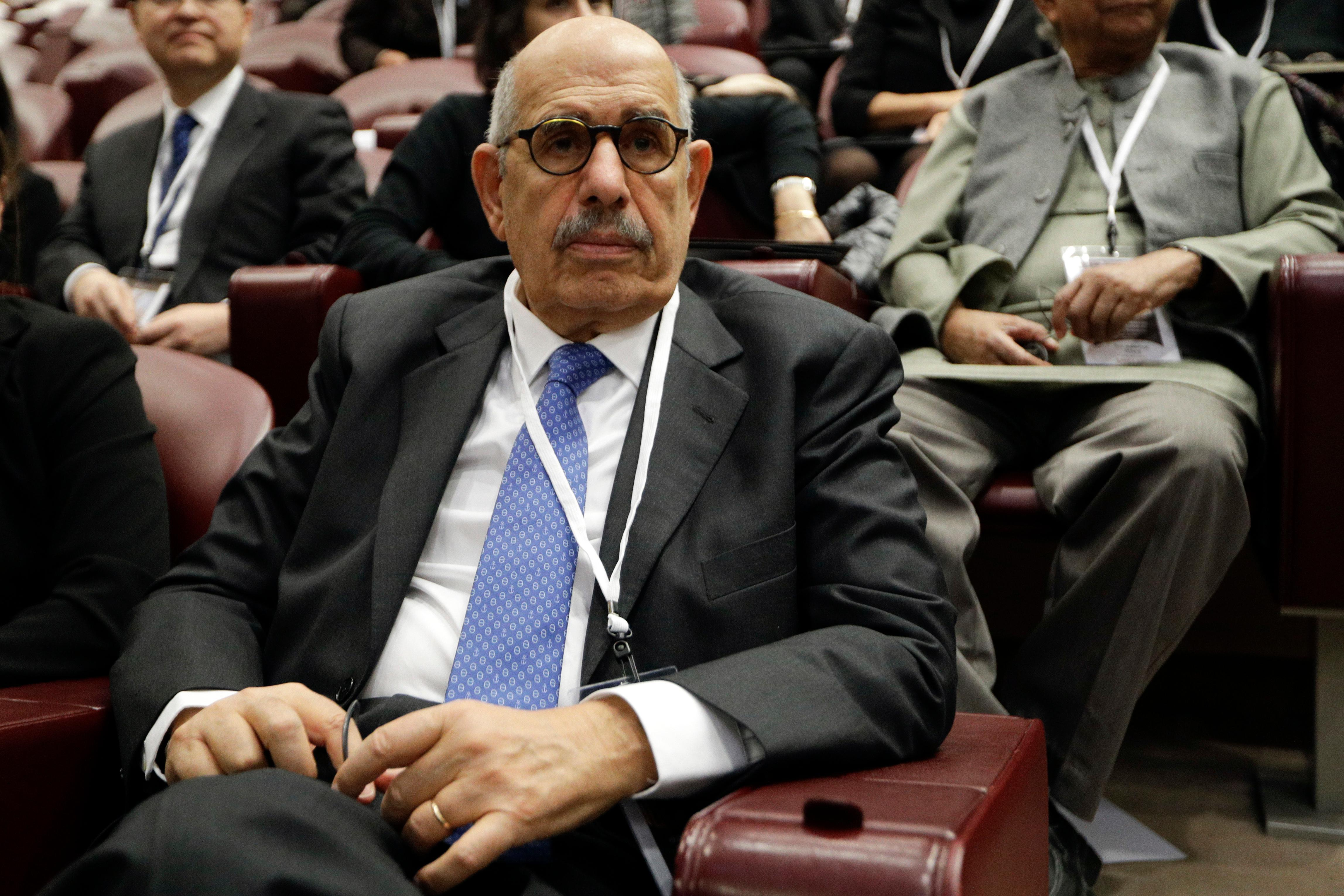 Director General Emeritus of the Intenational atomic Energy Agency and Nobel Peace laureate Mohamed ElBaradei attends a conference on nuclear disarmament, at the Vatican, Friday, Nov. 10, 2017. The Vatican hosted Nobel laureates, U.N. and NATO officials and a handful of nuclear powers at a conference aimed at galvanizing support for a global shift from the Cold War era policy of nuclear deterrence to one of total nuclear disarmament.(AP Photo/Andrew Medichini)