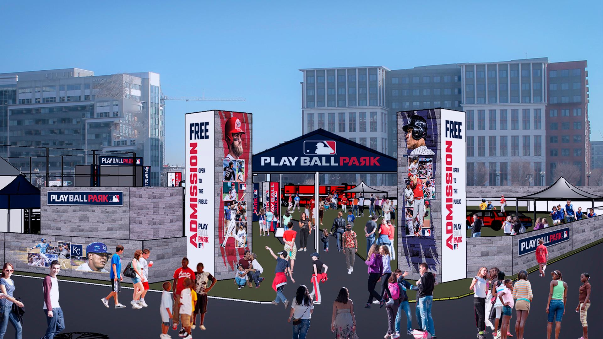 Starting Friday the 13th, Play Ball Park is a free event at the Yards, Parcel A. This is a huge outdoor interactive area for different types of baseball and softball activities for players and their families.{ } (Image: Courtesy MLB)