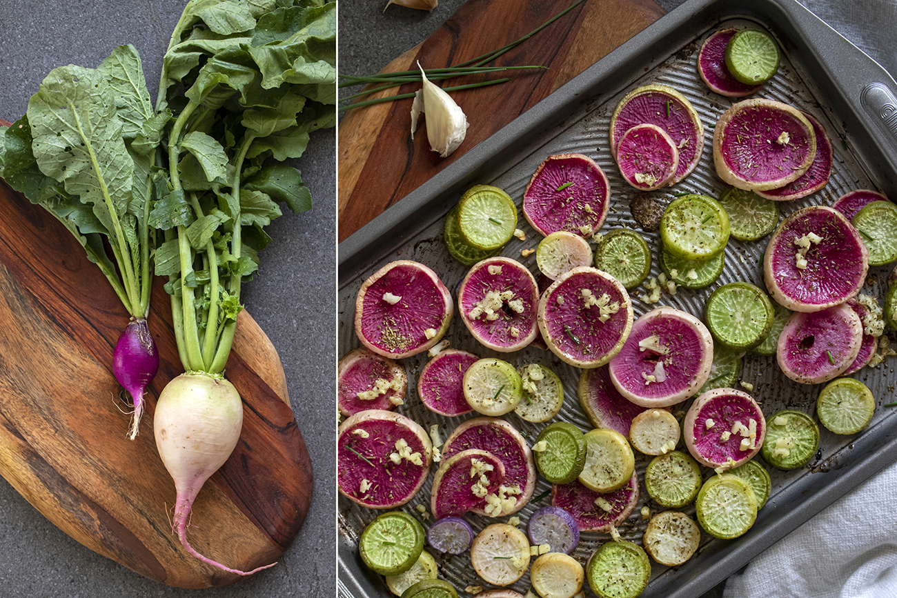 These watermelon radishes mixed with garlic cloves bake perfectly as a side dish. / Image: Allison McAdams // Published: 5.15.20