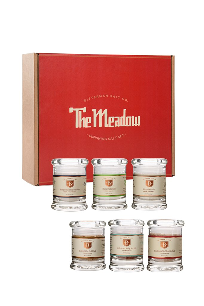 <p>The Meadow in Portland is renowned for their salt selection and knowledge. They have taken a decade of knowledge and put together a starter salt set. The set includes six finishing and cooking salts: Pangasinan Star, Piran Sel Gris, Tsushima No Moshio, Halen Mon Gold, Hana Flake and Haleakala Ruby. (Image: The Meadow)</p>