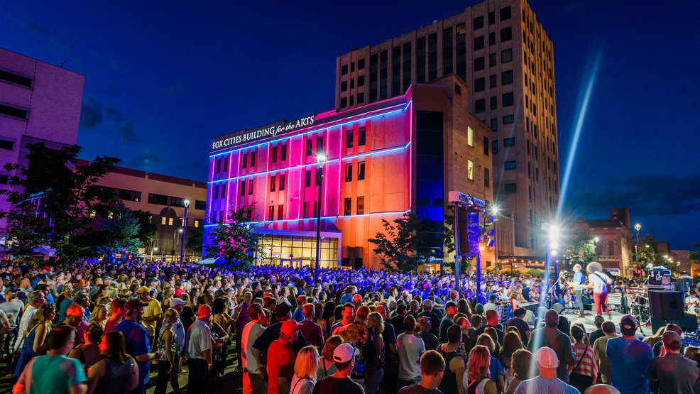 Concertgoers listen to music in downtown Appleton's Houdini Plaza during Mile of Music 4 in 2016.