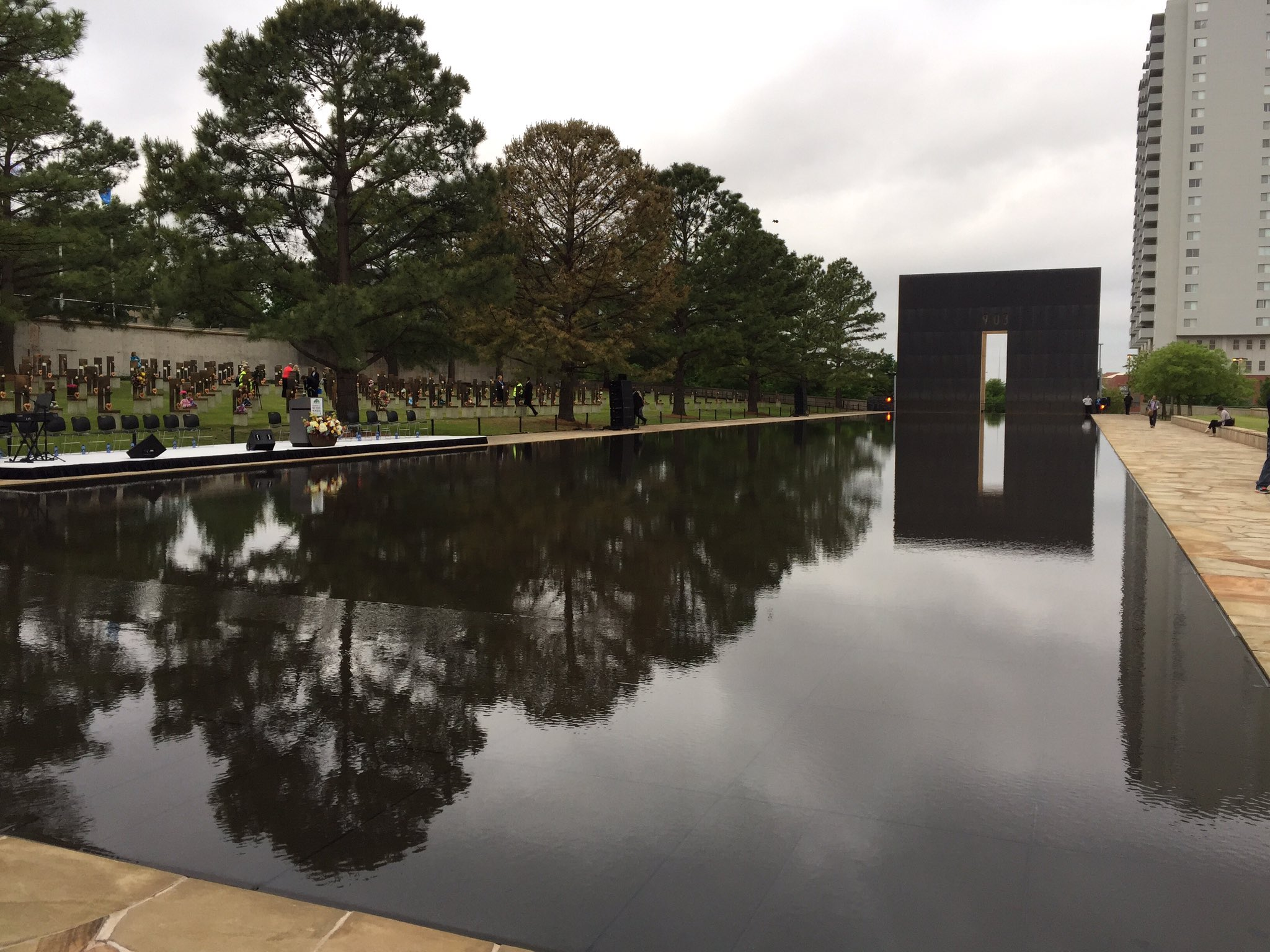 The Oklahoma City National Memorial prepares for the 22nd remembrance of the Oklahoma City bombing. (KOKH/Scott Noland)