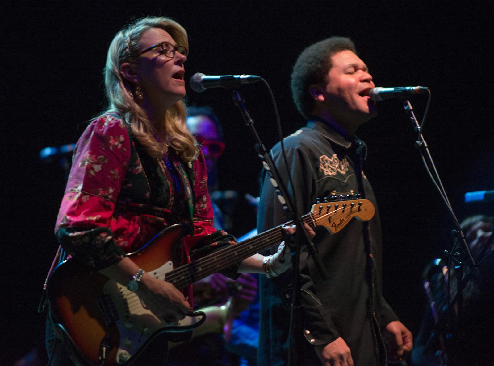 The Grammy-winning Tedeschi Trucks Band started off their 2017-18 nationwide tour Friday with a sold-out performance at Portland's Keller Auditorium, bringing the house down with a power-packed set of hits showcasing guitarist Derek Trucks' incredible talents along with the stunning vocal work of Susan Tedeschi. The couple was joined onstage by an incredibly talented 12-piece band for a memorable performance in Portland. (KATU Photo taken 11-3-2017 by Trisan Fortsch)