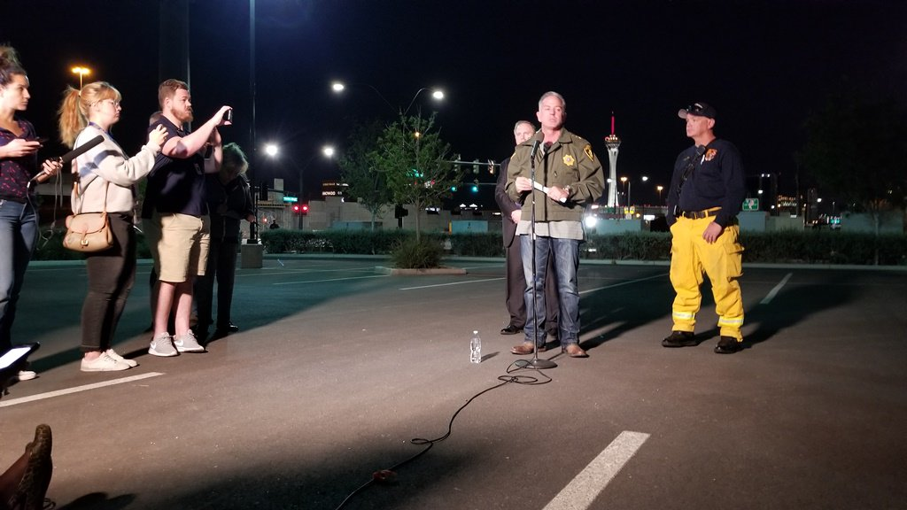 LVMPD Sheriff Lombardo speaks to the media following the tragedy (Photo courtesy LVMPD)