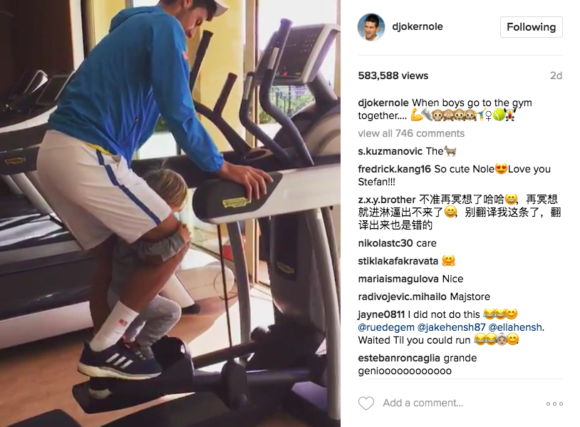 "Novak Djokovic Instagrams a video with his son and captions ""when boys go to the gym together..."""