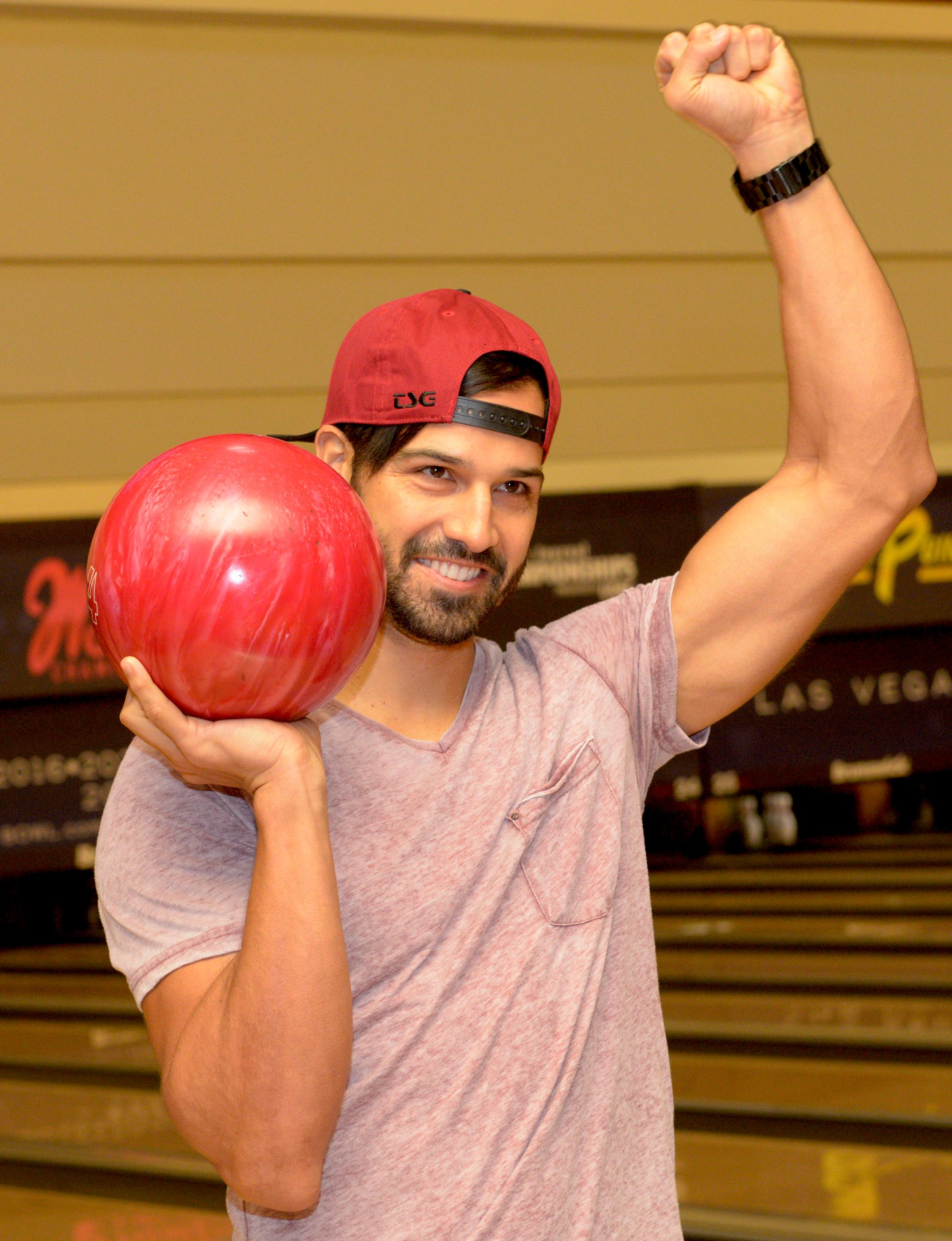 Epicurean Charitable Foundation hosts Strikes for Scholarships Bowling Tournament at the South Point Hotel & Casino. This event provides scholarships and unique mentorships for local students passionate about pursuing a career in hospitality or culinary arts. In this photo newly crowned Nevada BMX Champion Ricardo Laguna throws the first ball of the tournament. Sunday, August 27, 2017. [Glenn Pinkerton/Las Vegas News Bureau]
