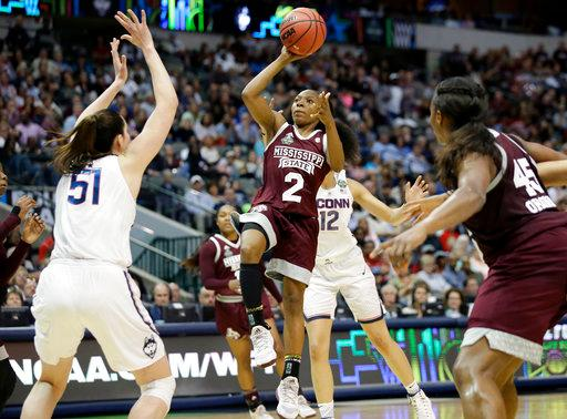 Mississippi State guard Morgan William (2) drives to the basket as Connecticut center Natalie Butler (51) defends during the first half of an NCAA college basketball game in the semifinals of the women's Final Four, Friday, March 31, 2017, Friday, March 31, 2017, in Dallas. (AP Photo/LM Otero)