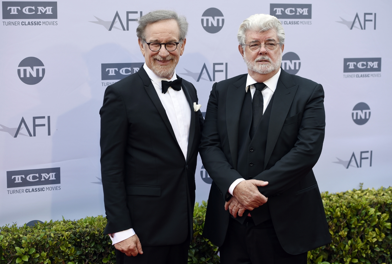 Filmmakers Steven Spielberg, left, and George Lucas pose together at the 2016 AFI Life Achievement Award Gala Tribute to John Williams at the Dolby Theatre on Thursday, June 9, 2016, in Los Angeles. (Photo by Chris Pizzello/Invision/AP)