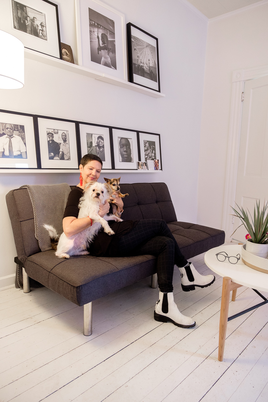 Stacy Sims with her dogs, Spike and Sophie. / Image: Daniel Smyth // Published: 1.28.18