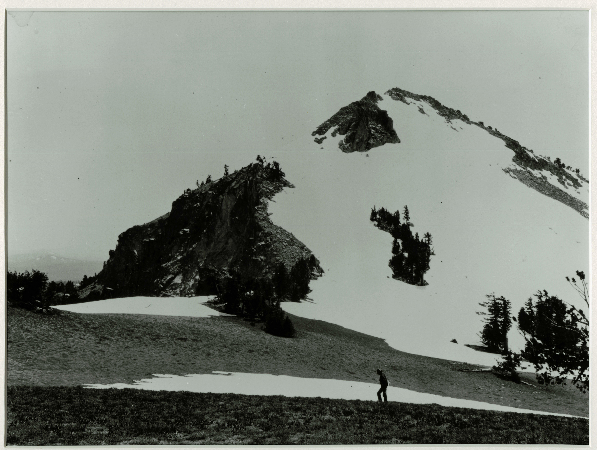 At Watchman Overlook with the Watchman in the distance. Photographed by J.S. Diller in the 1890s or 1901 during the USGS survey of the Crater Lake area.   Credit: Courtesy CRLA Museum & Archive Collections