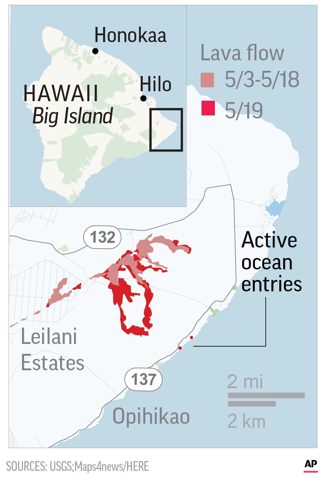 Map shows Kilauea volcano in Hawaii.; 1c x 3 inches; 46.5 mm x 76 mm;