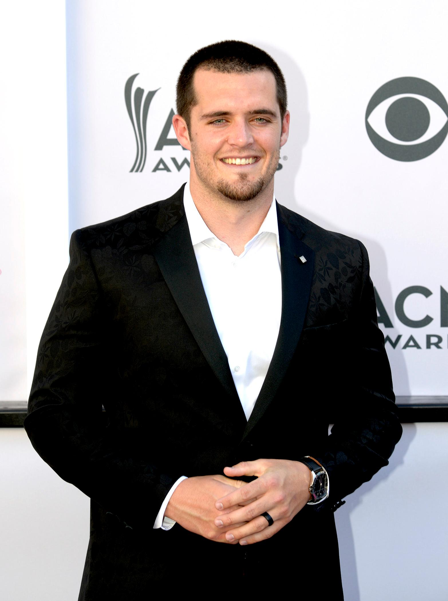 Derek Carr, quarterback for the Oakland Raiders, walks the Academy of Country Music Awards red carpet at T-Mobile Arena. Sunday, April 2, 2017. (Glenn Pinkerton/ Las Vegas News Bureau)