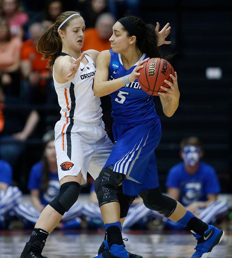 Creighton's Jaylyn Agnew (5) is closely guarded by Oregon State's Mikayla Pivec, left, during the second half of a second-round game in the NCAA women's college basketball tournament Sunday, March 19, 2017, in Corvallis, Ore. Oregon State won 64-52. (AP Photo/Timothy J. Gonzalez)
