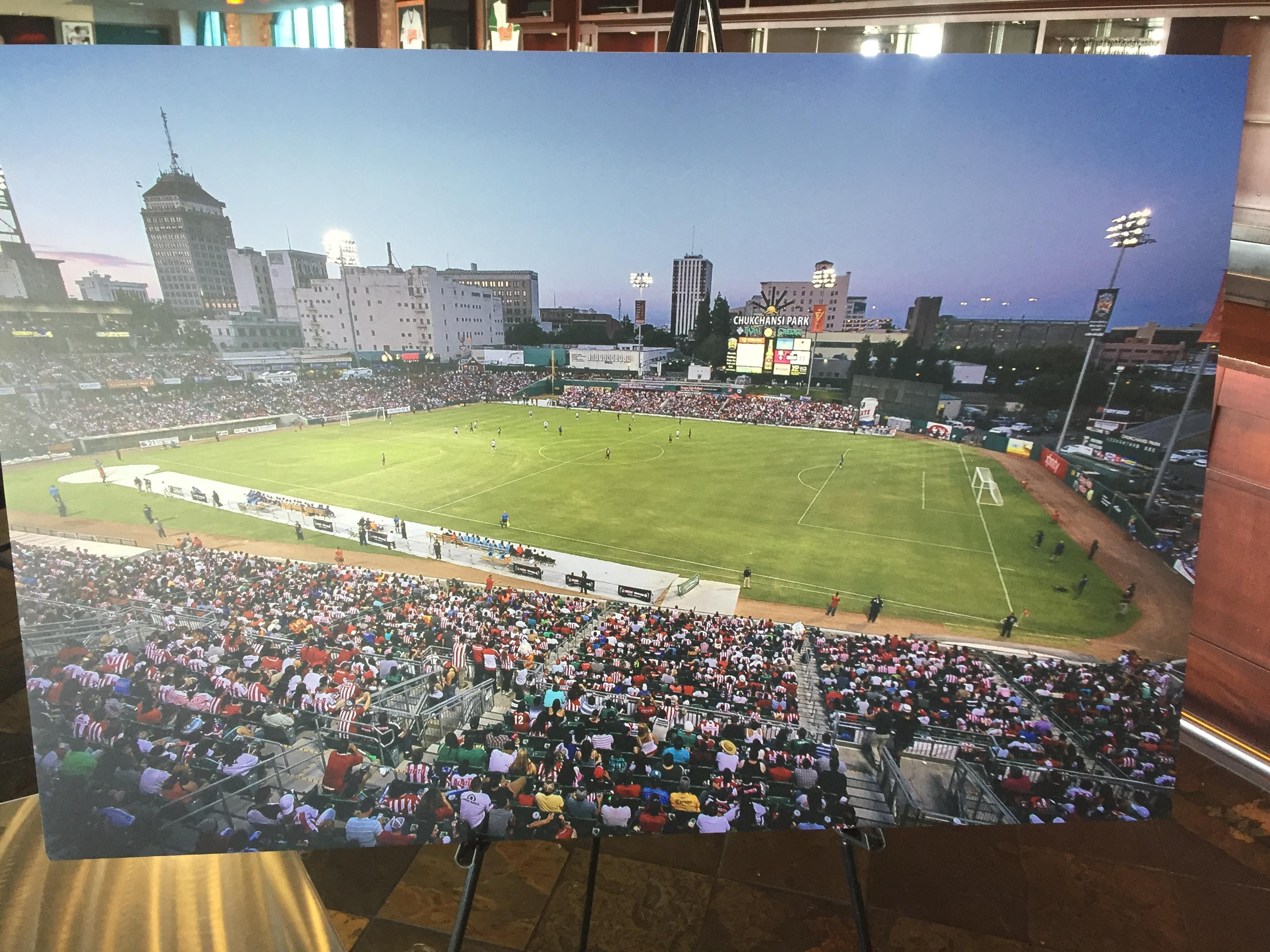 Beshoff says the team will play at Chukchansi Park for the first two seasons, and possibly more. The field will be converted to look more like a soccer stadium, something similar to what's seen in this picture.