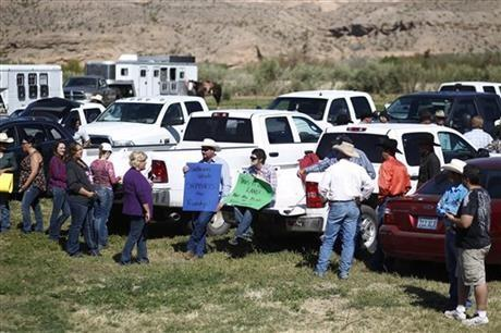 Supporters prepare to rally for Cliven Bundy at the Bundy ranch near Bunkerville Nev. Monday, April 7, 2014.