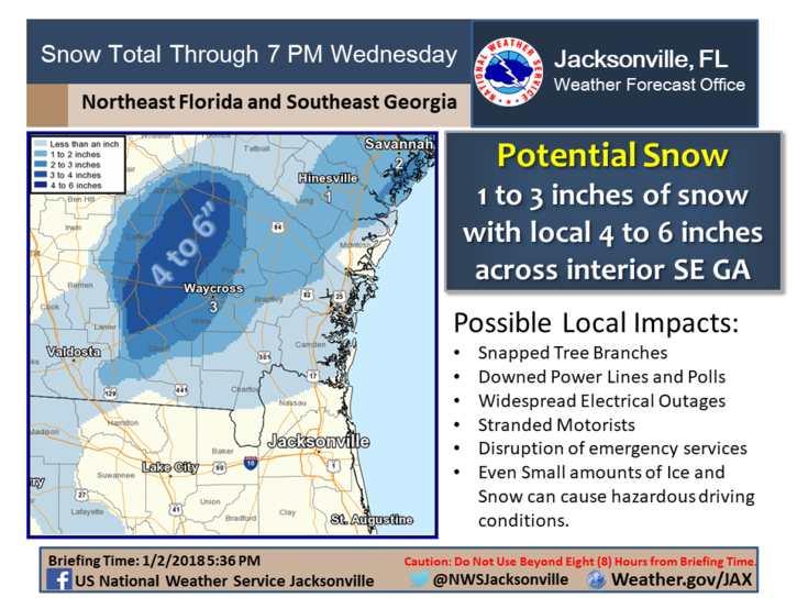 Current expectation is for 2-4 inch snowfall western half of southeast Georgia with some local snowfall amounts of up to a half foot particularly over Coffee, Atkinson, Jeff Davis, Bacon, Appling, and northern Ware counties late tonight through Wednesday. This will be accompanied with some ice pellets (sleet) during the same period. /NWS Jacksonville<p></p>