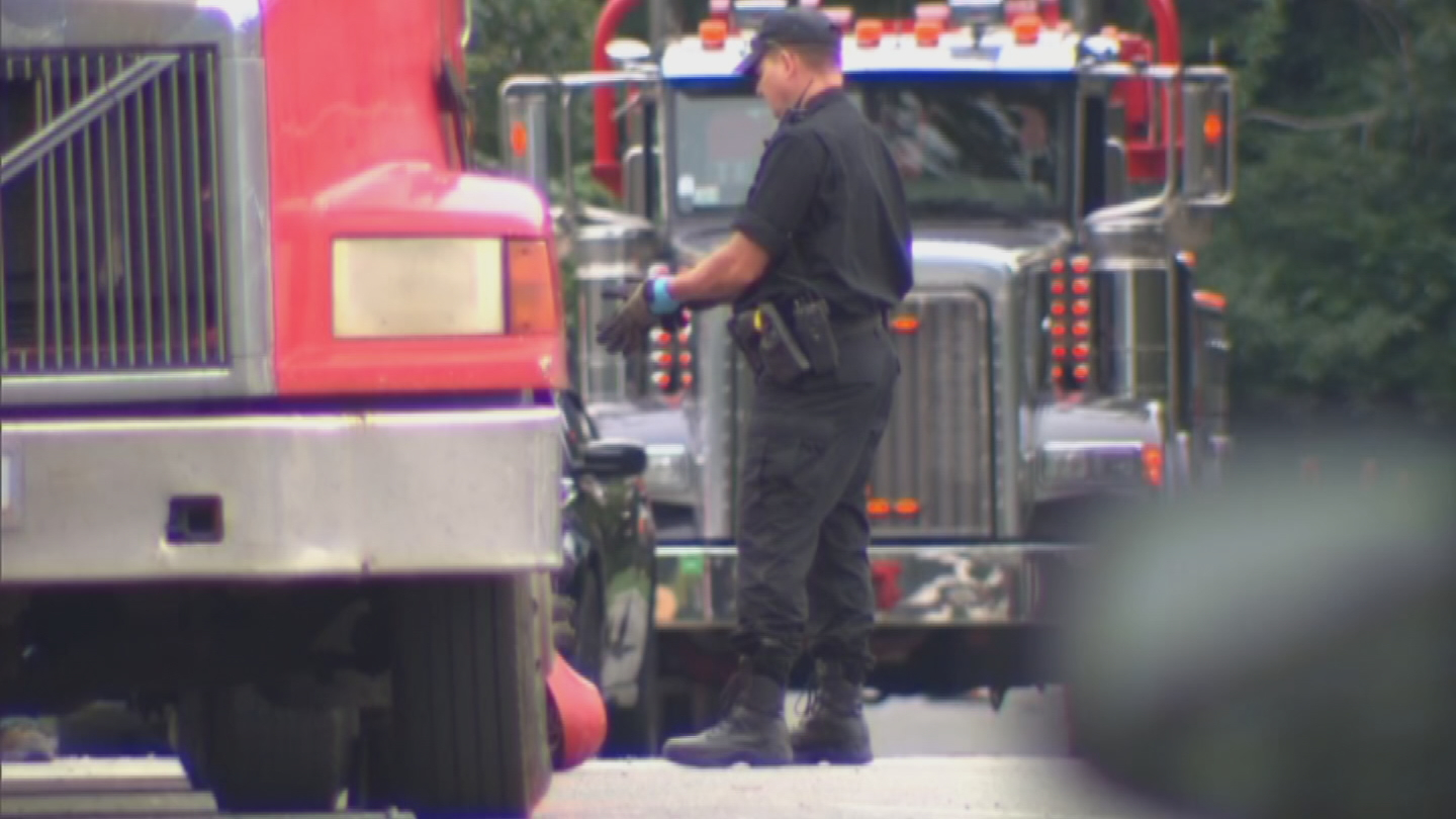 Police said the death of a worker who was run over by a colleague driving a tractor-trailer in Norwood, Massachusetts, appears to be an accident. (WCVB)