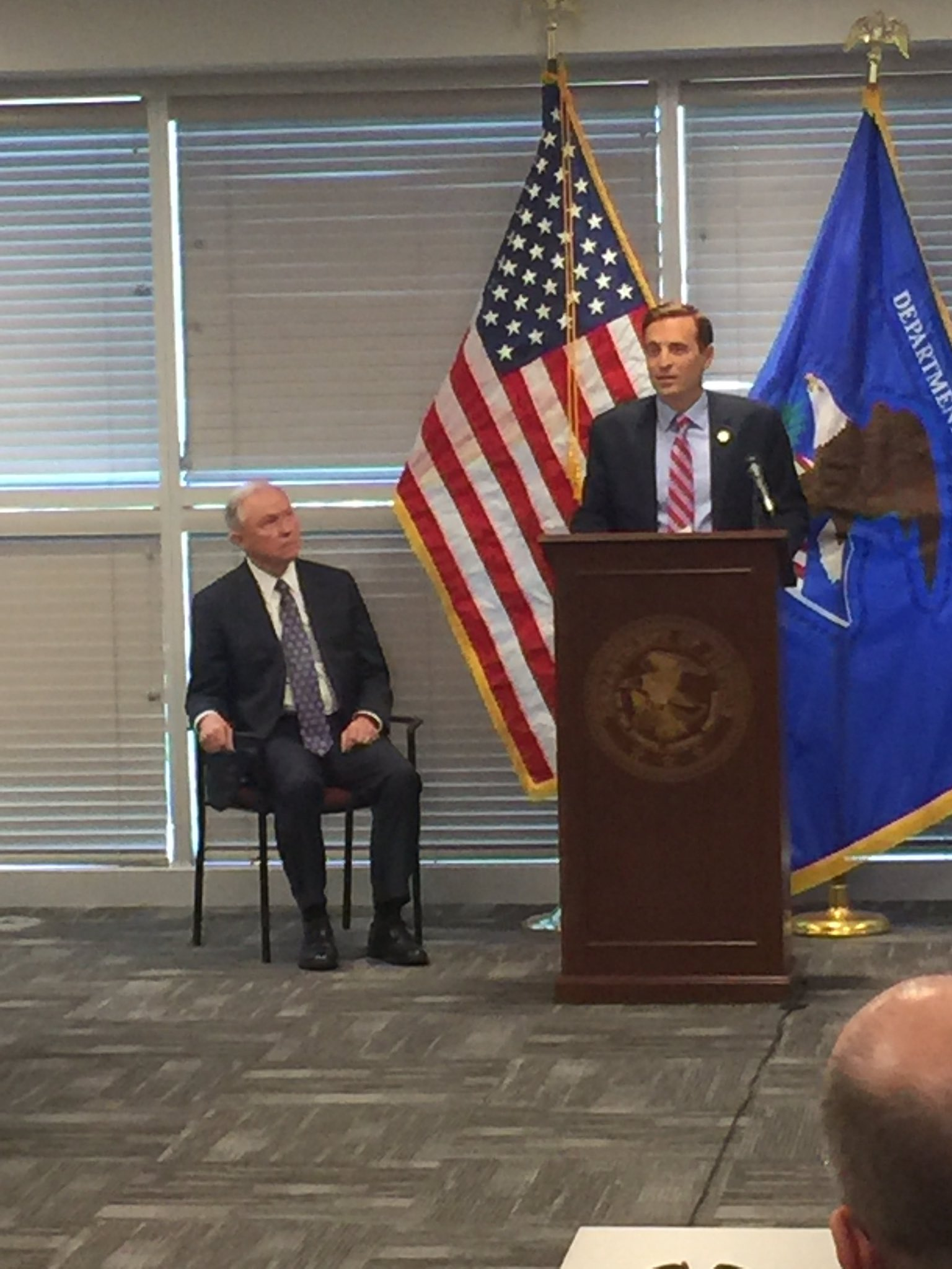 Nevada Attorney General Adam Laxalt introducing United States Attorney General Jeff Sessions before a speech in Las Vegas on July 12, 2017. (Jeff Gillan | KSNV)