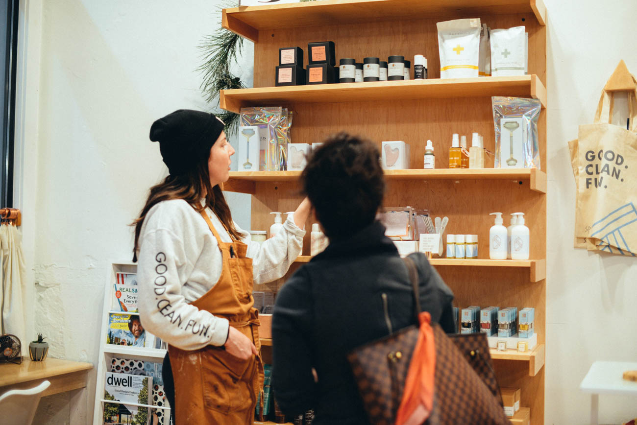 We always recommend SPF to clients, not only on your face, but hands as well, as they are often unprotected. We use our hands to apply the SPF and moisturizers, it's so easy to flip them over and rub the remaining excess lotion on the tops of your hands as well. The American Academy of Dermatology recommends an SPF of 30 or higher. -Molly Nagle, owner of Spruce. / Image: Sara Green Photography // Published: 3.29.19