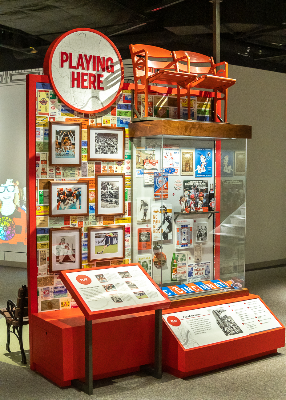And finally, the 'Playing Here' display showcases Cincinnati sports history.{&nbsp;}/ Image: Phil Armstrong, Cincinnati Refined // Published: 10.23.20<p></p>