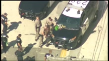 A man was arrested Saturday after leading police on a high-speed chase through Los Angeles in a Halloween costume. (Photo: KTTV / NNS via CBS Newspath)