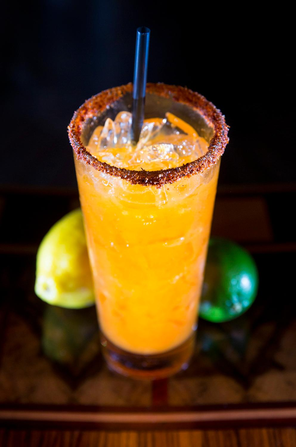 The Smokey Margarita from The Matador, made up of Monte Lobo Mezcal, triple sec, charred pineapple reduction, lime, tajin rim. (Sy Bean / Seattle Refined)
