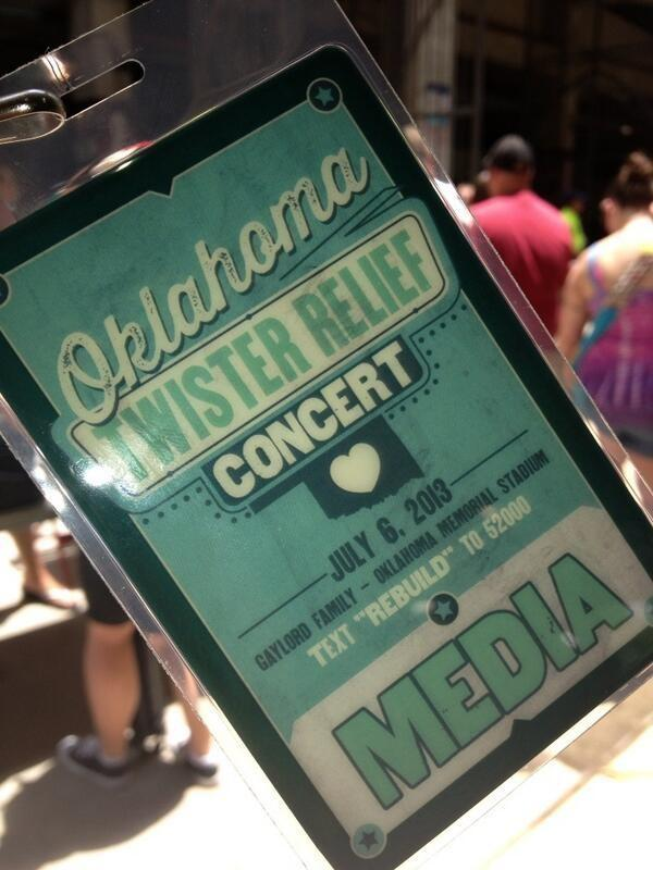 Media credentials for the concert.