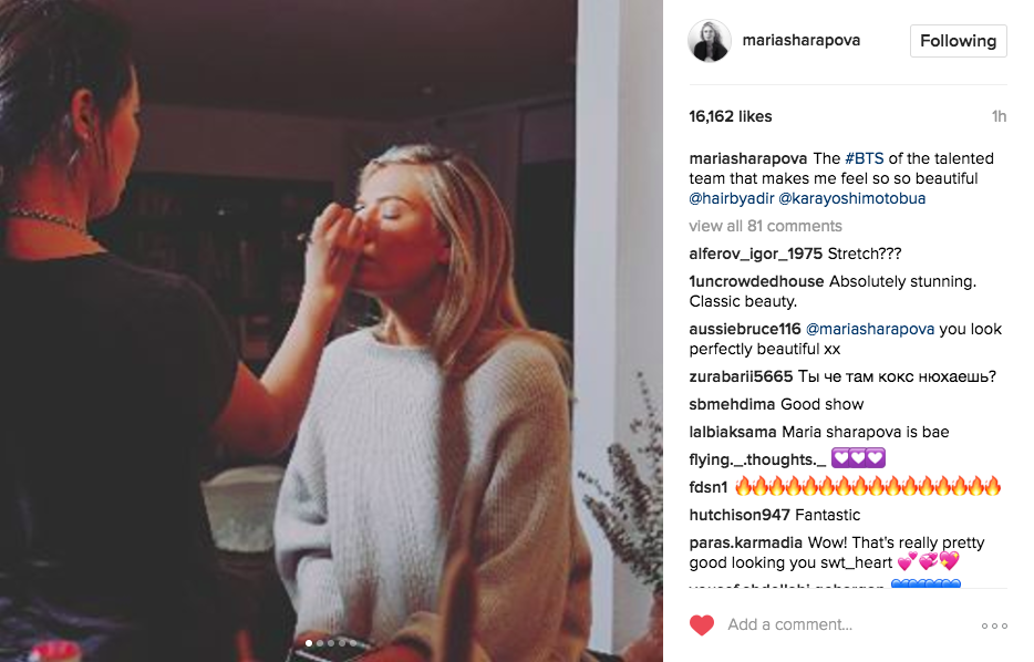 Maria Sharapova posts a photo on Instagram of her getting her makeup done in preparation for the Vanity Fair party.