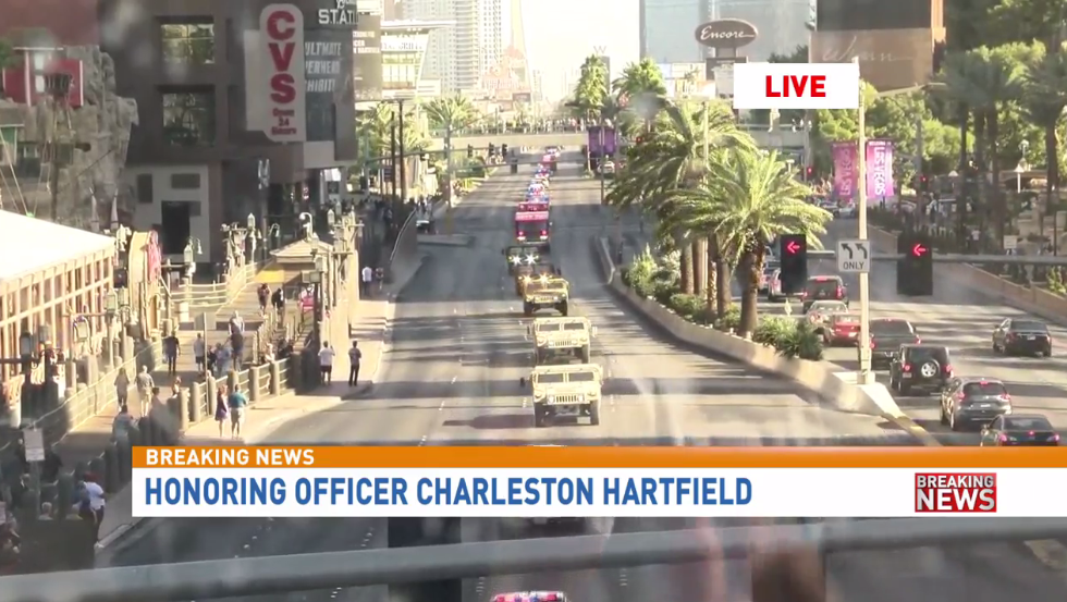 Fallen Officer Charleston Hartfield was laid to rest on Oct. 20. He was killed at the Route 91 Harvest Festival on Oct. 1. (KSNV)<p></p>