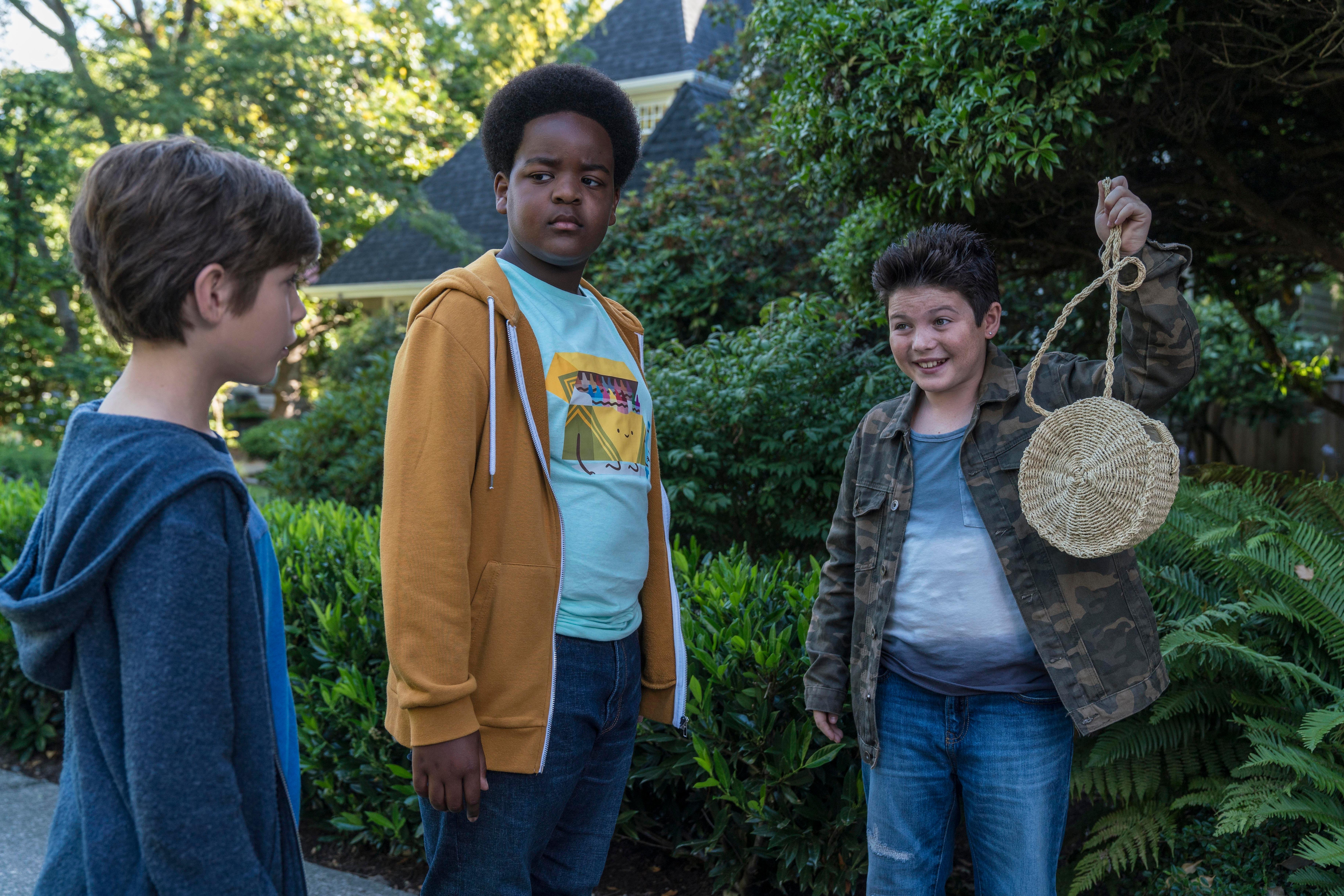"This image released by Universal Pictures shows Jacob Tremblay, from left, as Max, Keith L. Williams as Lucas and Brady Noon as Thor in the film, ""Good Boys,"" written by Lee Eisenberg and Gene Stupnitsky and directed by Stupnitsky. (Ed Araquel/Universal Pictures via AP)"