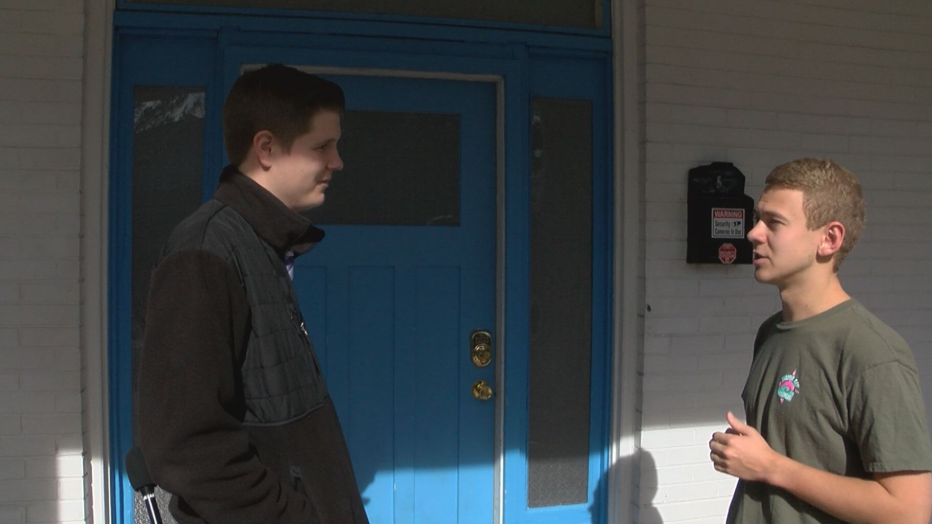 News Five reporter Thomas Gray talks with Sigma Chi chapter Vice President Tell Walker about House Bill 2042. (Thomas Gray/WCYB)