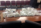 The Brown County Drug Task Force displays bags of marijuana seized in a bust, April 1, 2014. (WLUK/Bill Miston)