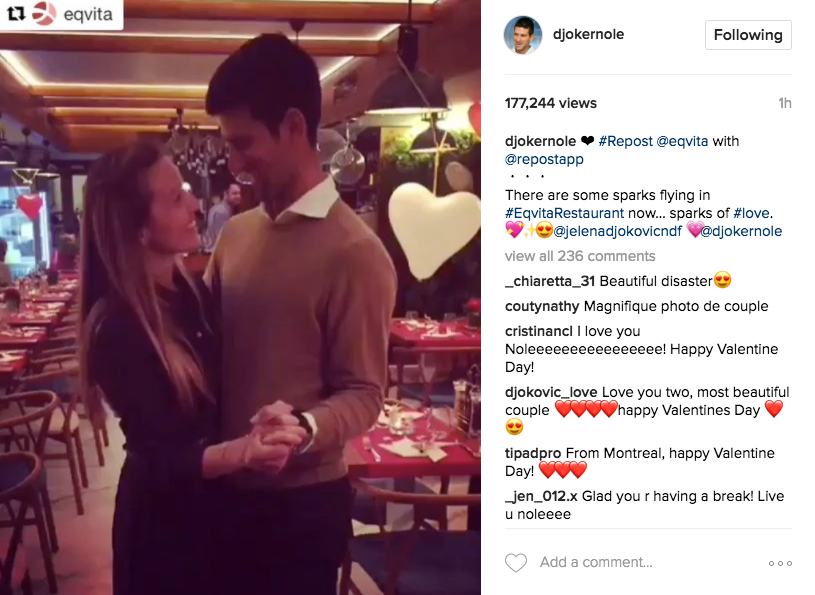 Novak Djokovic steals a dance with his wife Jelena at Eqvita restaurant.
