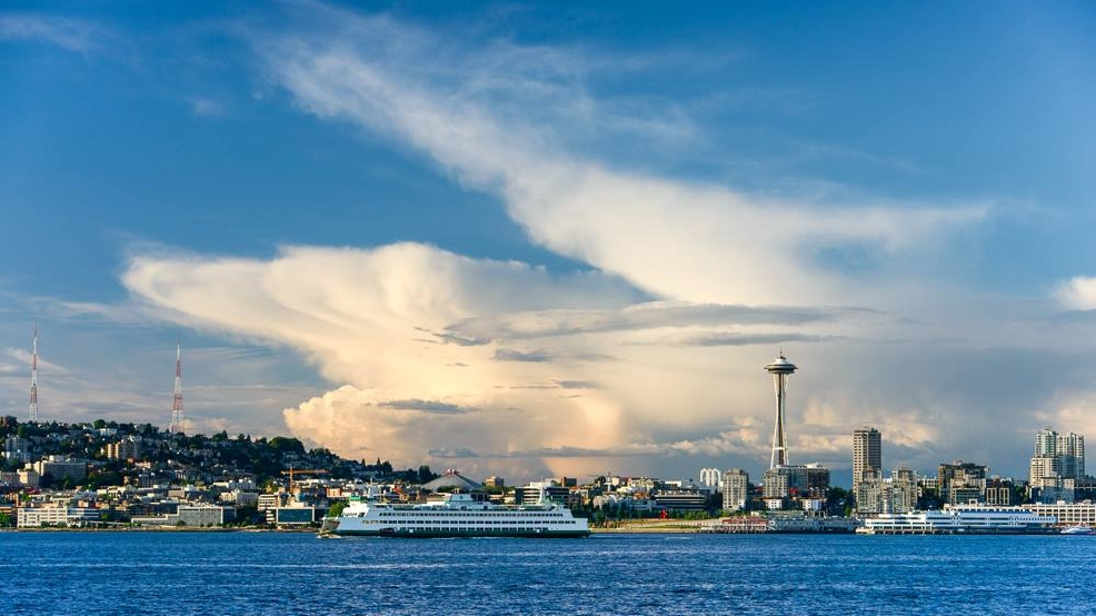 Photos: Distant thunderstorm makes for dramatic cloud displays near Seattle