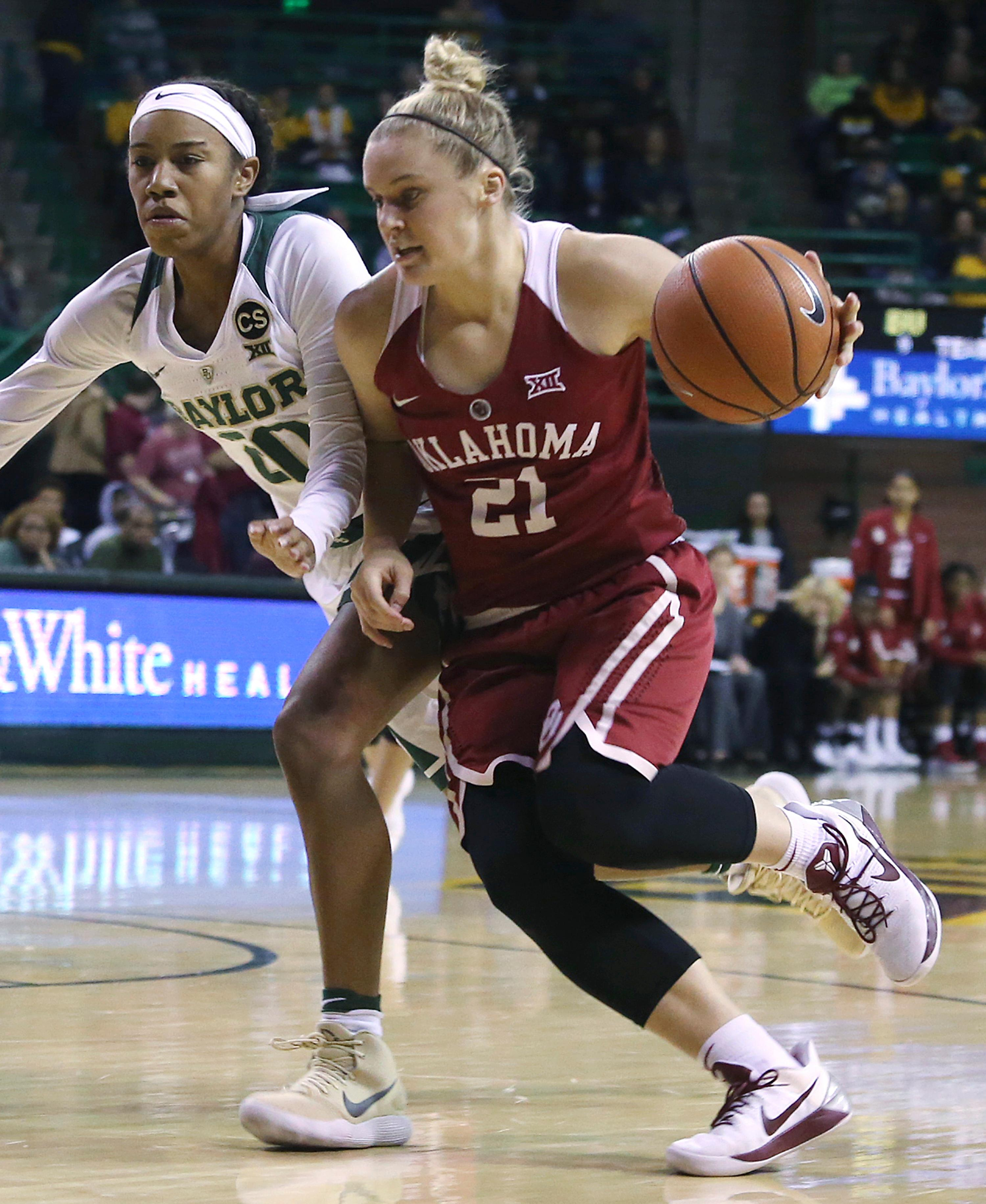 Oklahoma guard Gabbi Ortiz, right, drives the ball up court against Baylor guard Juicy Landrum, left, during the first half of an NCAA college basketball game, Monday, Feb. 5, 2018, in Waco, Texas. (AP Photo/Jerry Larson)