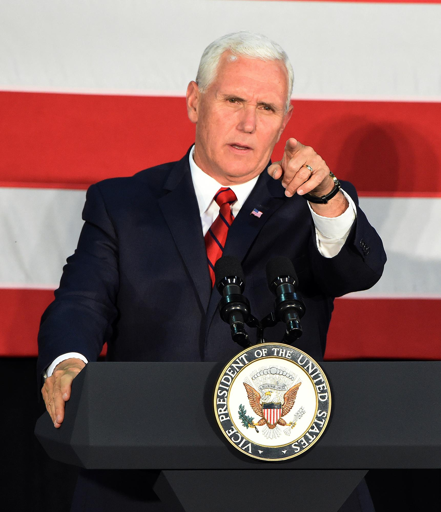 Vice President Mike Pence makes a campaign stop to support Sen. Luther Strange in Birmingham, Ala., Monday, Sept. 25, 2017. President Donald Trump called an Alabama radio show Monday to urge support for Strange in Tuesday's runoff for the GOP nomination, and Pence campaigned for Strange in Birmingham while Trump's former strategist, Steve Bannon, spoke at a Roy Moore rally at the coast. (Joe Songer/AL.com via AP)