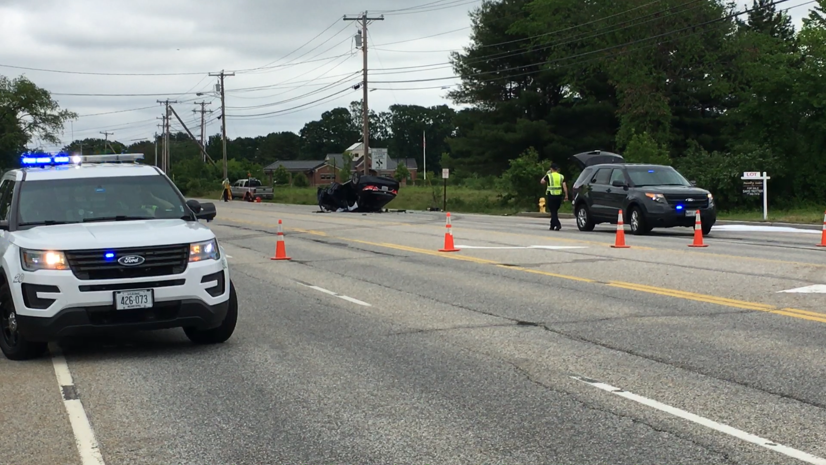Route 1 was closed from Old Blue Point Rd in Scarborough to Cascade Road in Saco due to a major accident in Saco. (BRAD ROGERS/WGME)