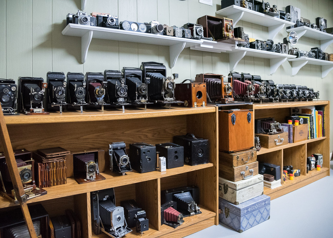 Around 20% of the total collection is still operable. Tim modifies some of the old cameras to use modern day film just so he can take a few photos often using 100-year-old technology. His efforts to restore the cameras has become a hobby in and of itself. / Image: Phil Armstrong, Cincinnati Refined // Published: 2.25.19